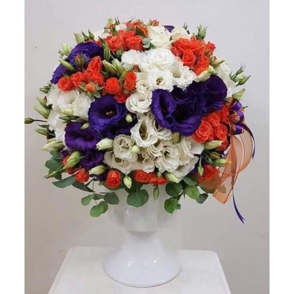 Orange Arbor Rose Colored Lisyantus Arrangement