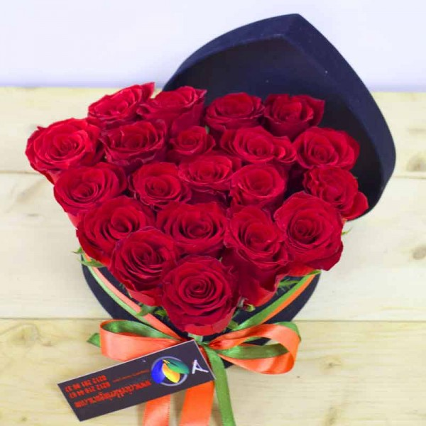 Red Rose in Heart Shaped Box