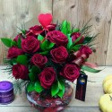 Red Roses in Small Bowl