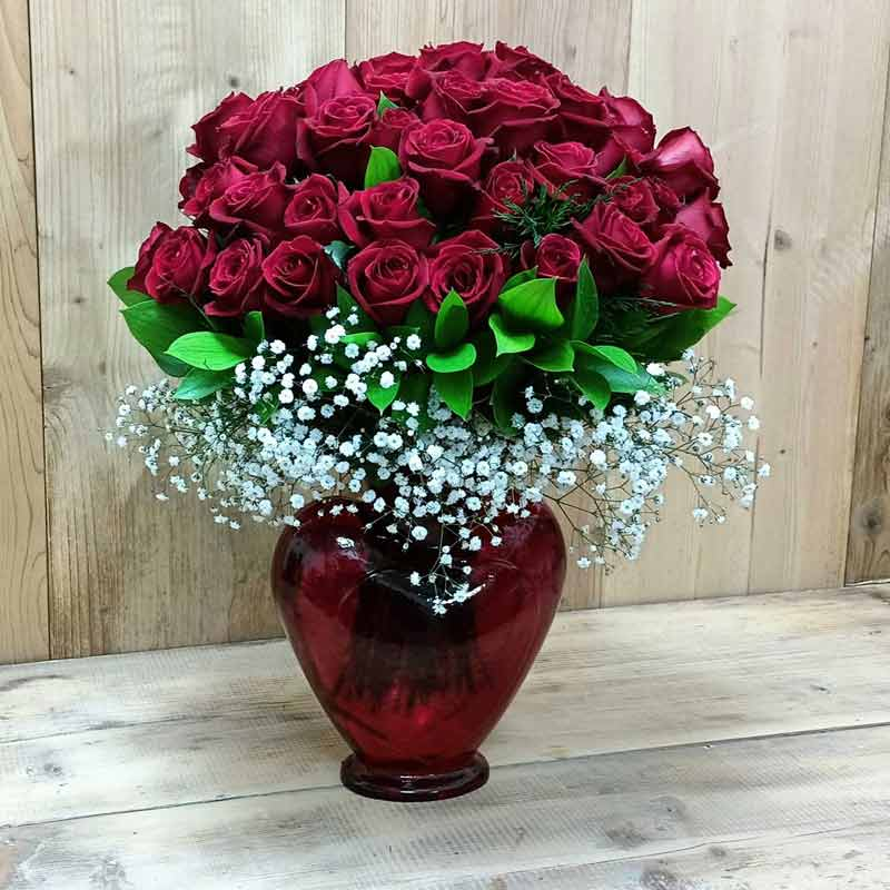 Heart Glass Lilies and Roses