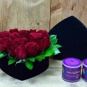 Red Roses in the Heart Shape Gift Box