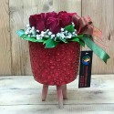 5 Red Roses in a Wooden Stump