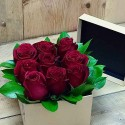 16 Red Roses in Round Box