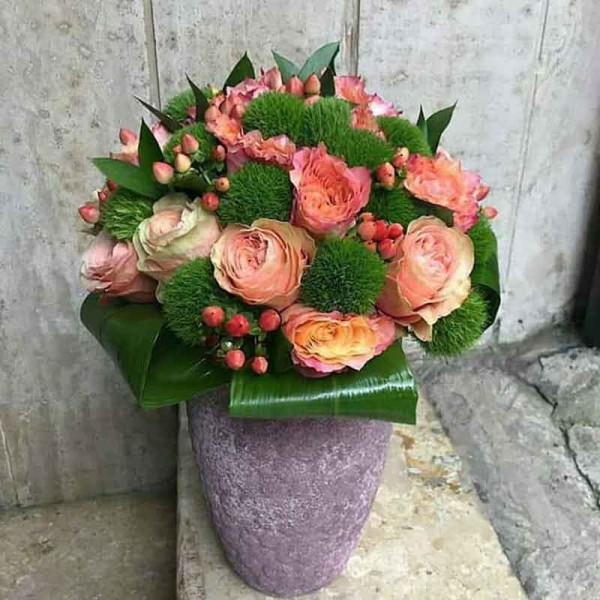 Light Pink Color Rose, Peony Rose, Hypericum
