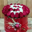 Red and White Rose in Red Cylinder Box